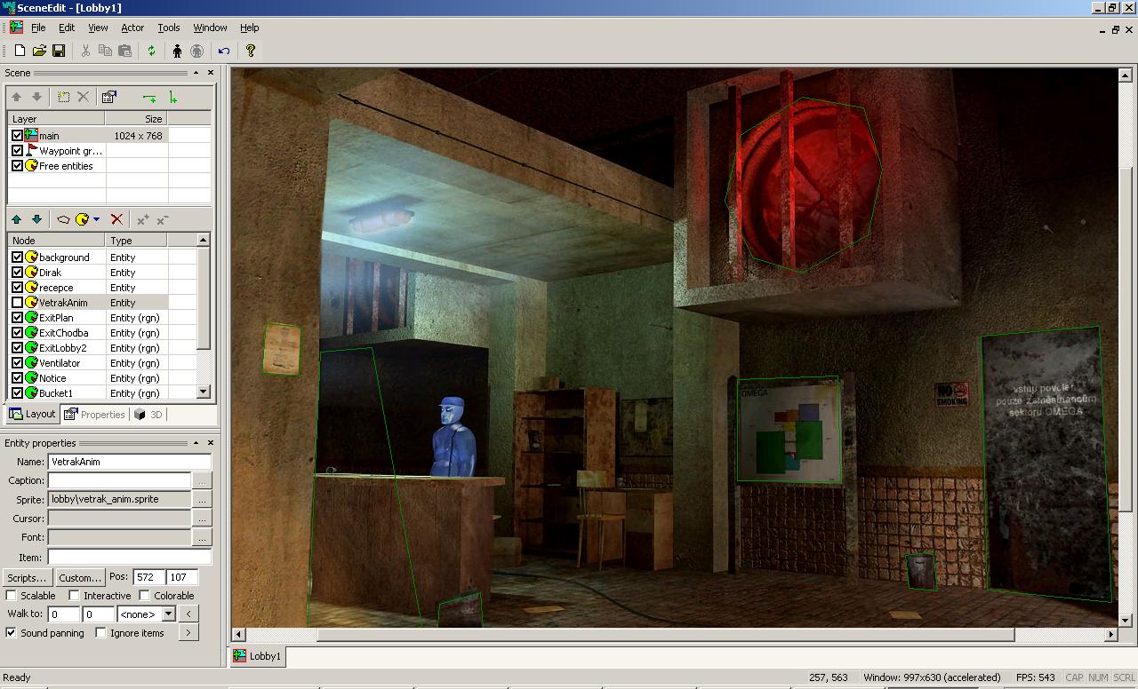 Editor de escenas de Wintermute Engine